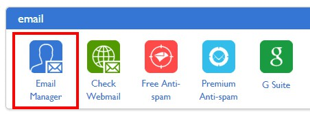 ايقونة انشاء بريد الكتروني في bluehost