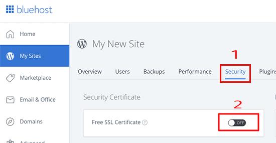 تفعيل شهادة امان SSL في استضافة بلوهوست