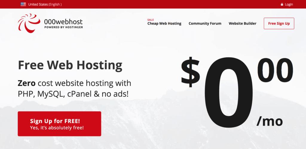 000webhost استضافة