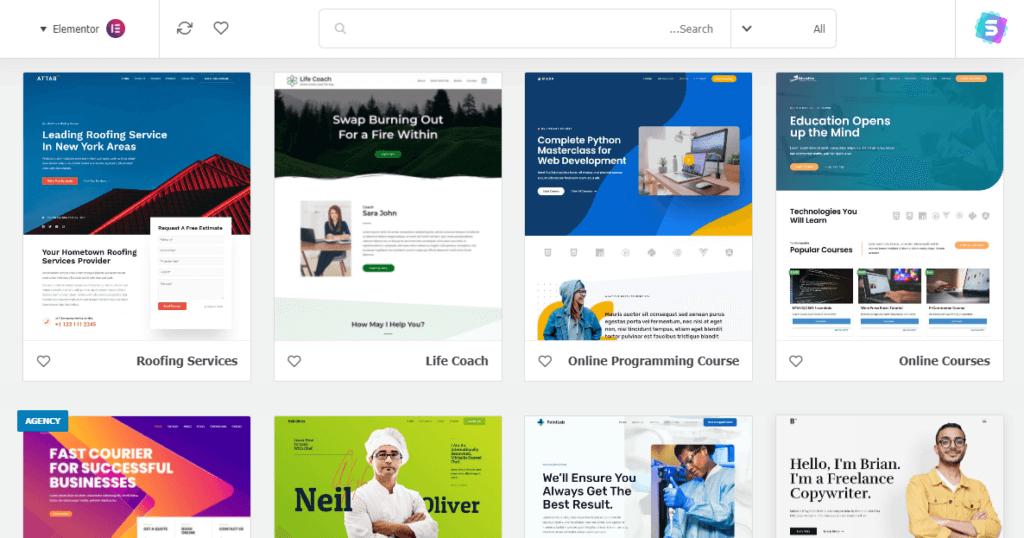 اختيار تصميم جاهز من اجل انشاء موقع الكتروني